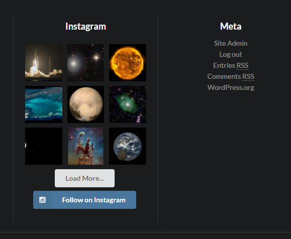 Instagram Feed in the footer