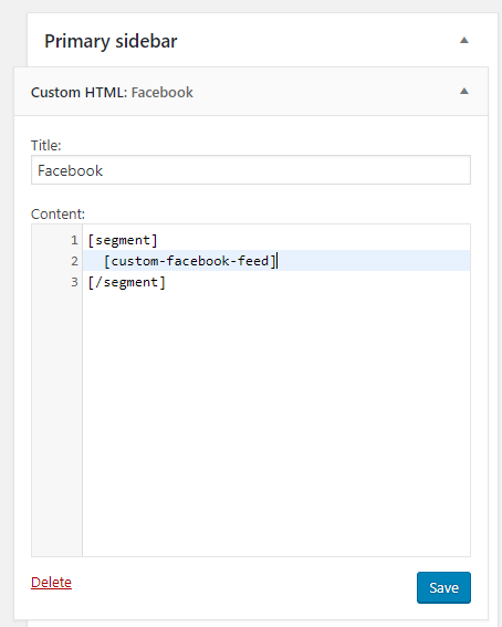 Custom Feeds for Facebook shortcode in a HTML widget